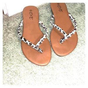 Eve White Leopard Sandals